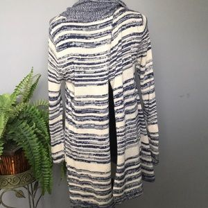 Blue and cream cowl neck sweater with split back